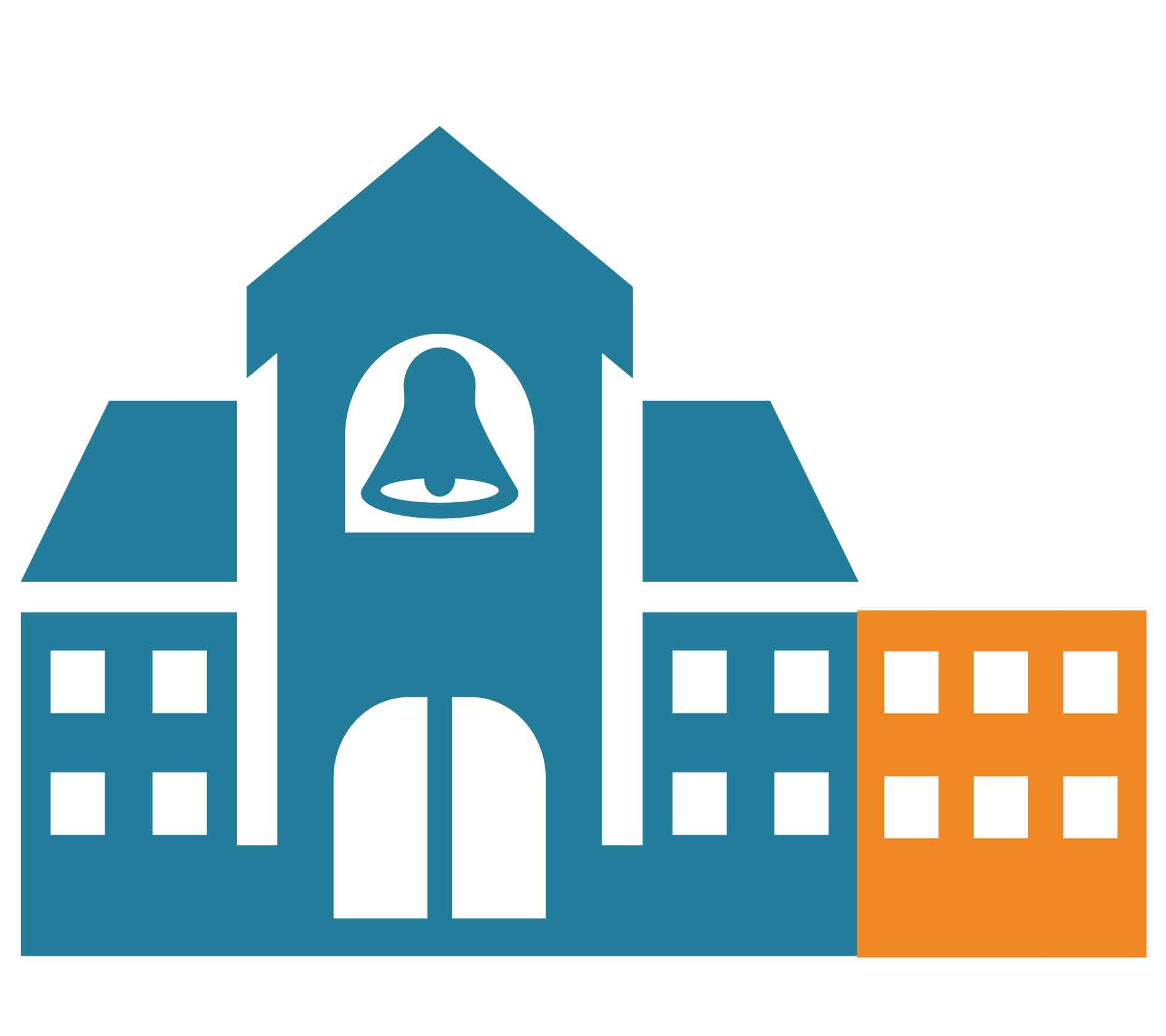 School icon in blue with orange addition