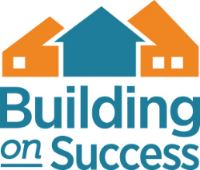 Building on Success logo with three houses in orange and turquoise
