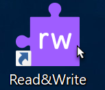 "Read&Write logo: purple puzzle piece that says ""rw"""