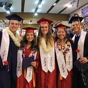 A group of Juanita High School seniors at graduation