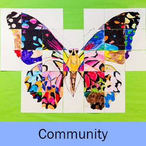 Example of the Mosaic Butterfly art project and the word Community