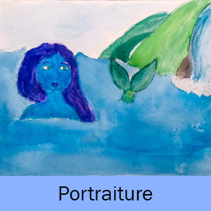 "Painting of a mermaid and a blue box that says ""Portraiture"""