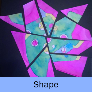 Example of the Shape lesson: painted paper cut into geometric shapes