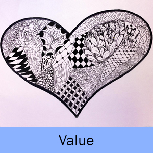 Example of the Value lesson: heart filled in with black and white patterns
