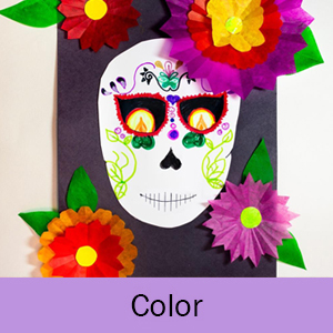 The word Color on a lavender background and decorated skull with flowers
