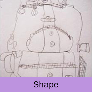 Blind contour drawing and the word Shape on a lavender background