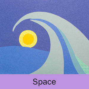Example of the Space lesson: large wave crashing over sun in background