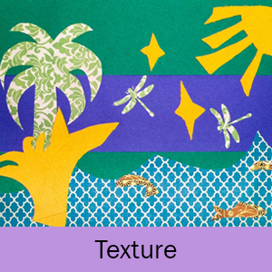 Example of the Texture lesson: nature in bright colors on stripes