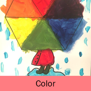 Example of the Color art project: person holding a colorful umbrella in the rain