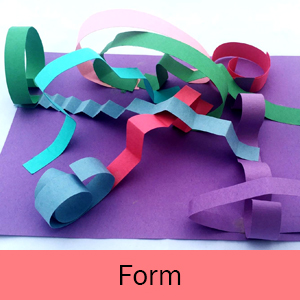 Example of the Rollercoasters art project and the word Form on a pink background