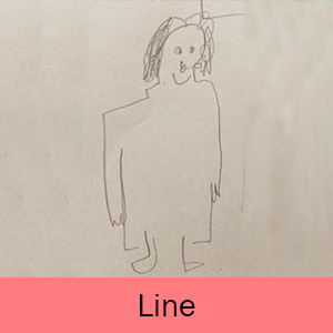 An example of the Kindergarten line drawing lesson: self-portrait