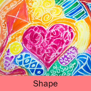 An example of the Shape art project: Abstract Hearts.