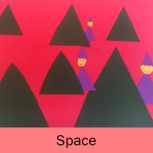 Example of the Perspective Trees art project and the word Space on a pink background