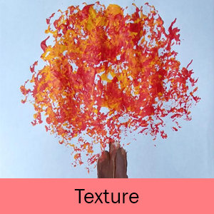 Example of the Texture art project: colorful leaves on a tree in the fall