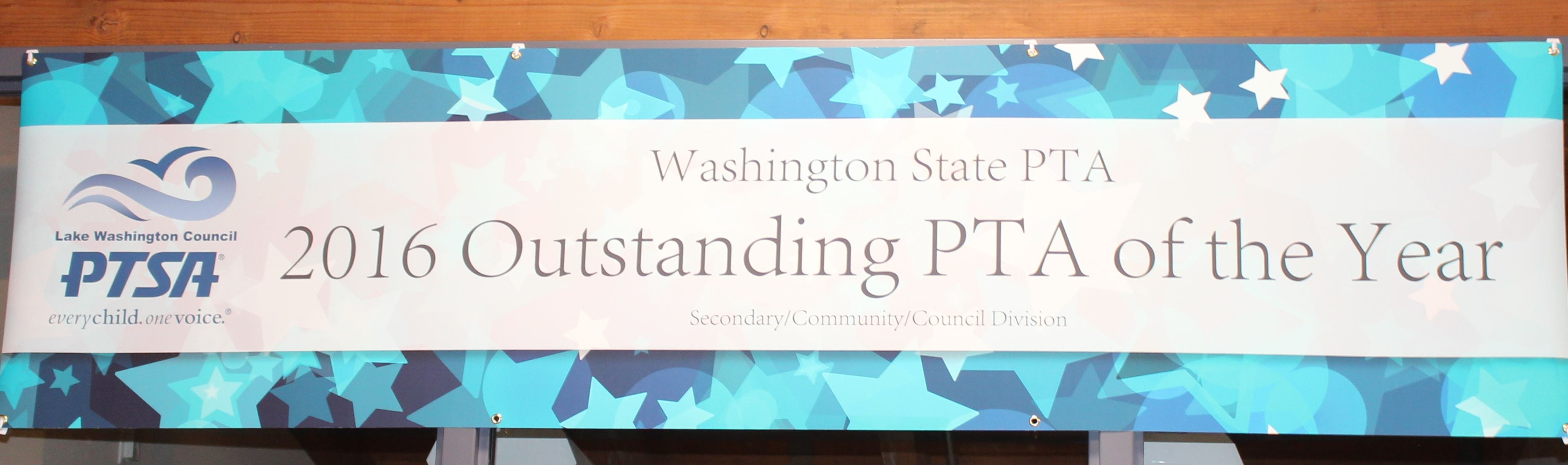 2016 Outstanding PTA of the Year banner