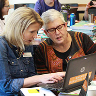 Two female teachers working together on a laptop.