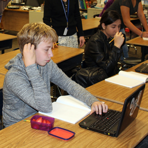 Students working on laptop computers
