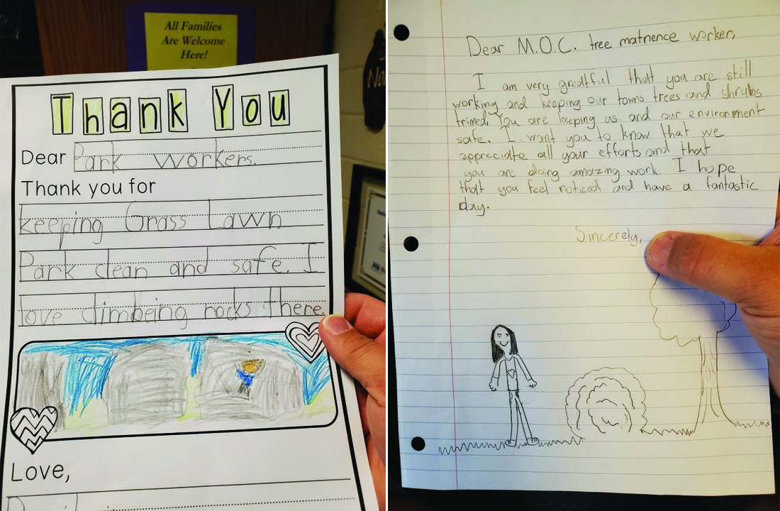 Rockwell students write notes of appreciation to city workers