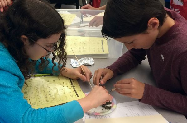 Students conducting an experiment.