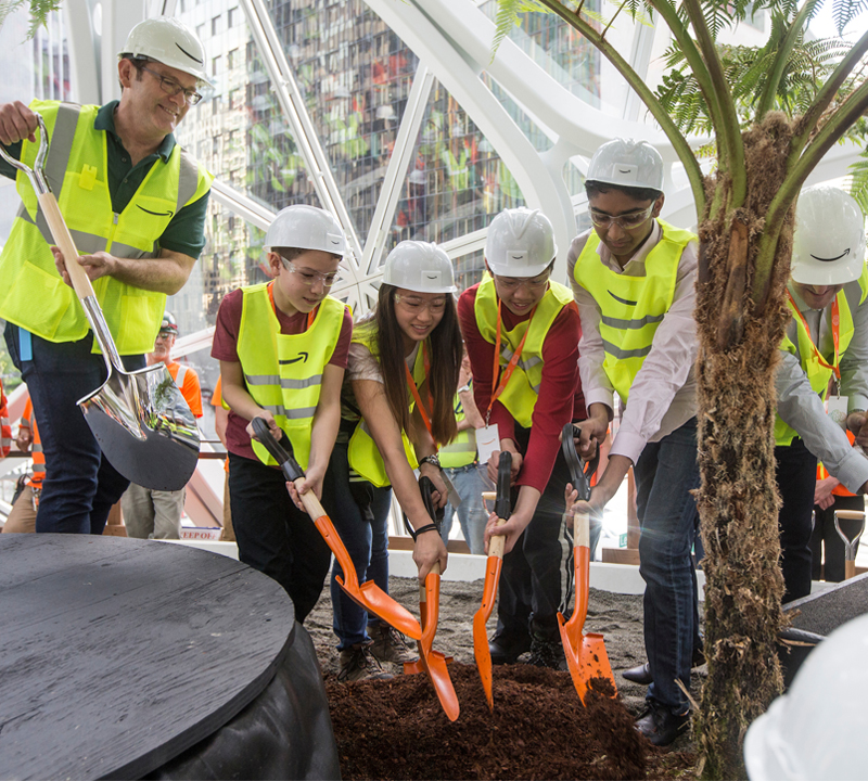 EAS students visit Amazon's greenhouse, get green for theirs