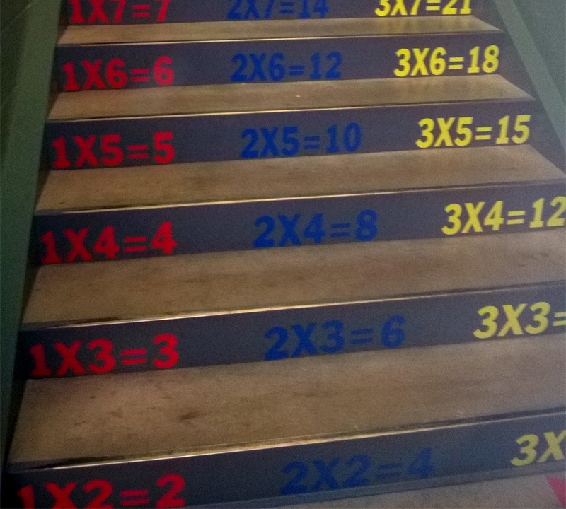 Multiplication tables decorate Rose Hill Elementary staircases
