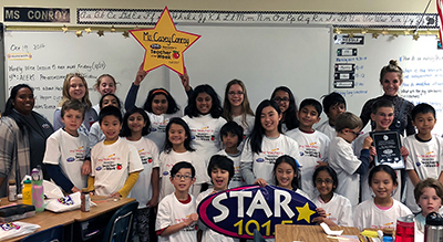 STAR 101.5 Teacher of the Week with her class