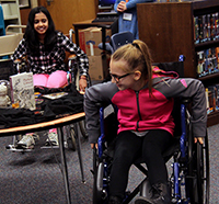Mead students experience using a wheelchair.