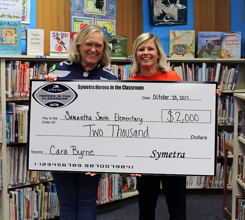 Smith Elementary teacher, Cara Byrne and her Symetra Hero in the Classroom prize
