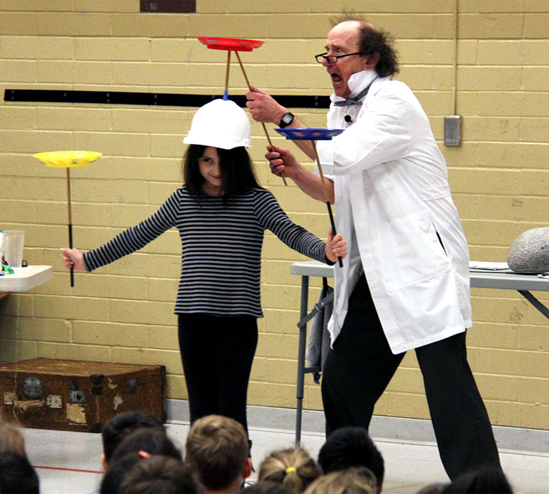Students experience the joy of discovery during physics assembly