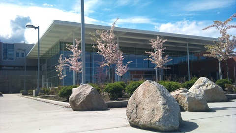 Front of Lake Washington High School in the spring.