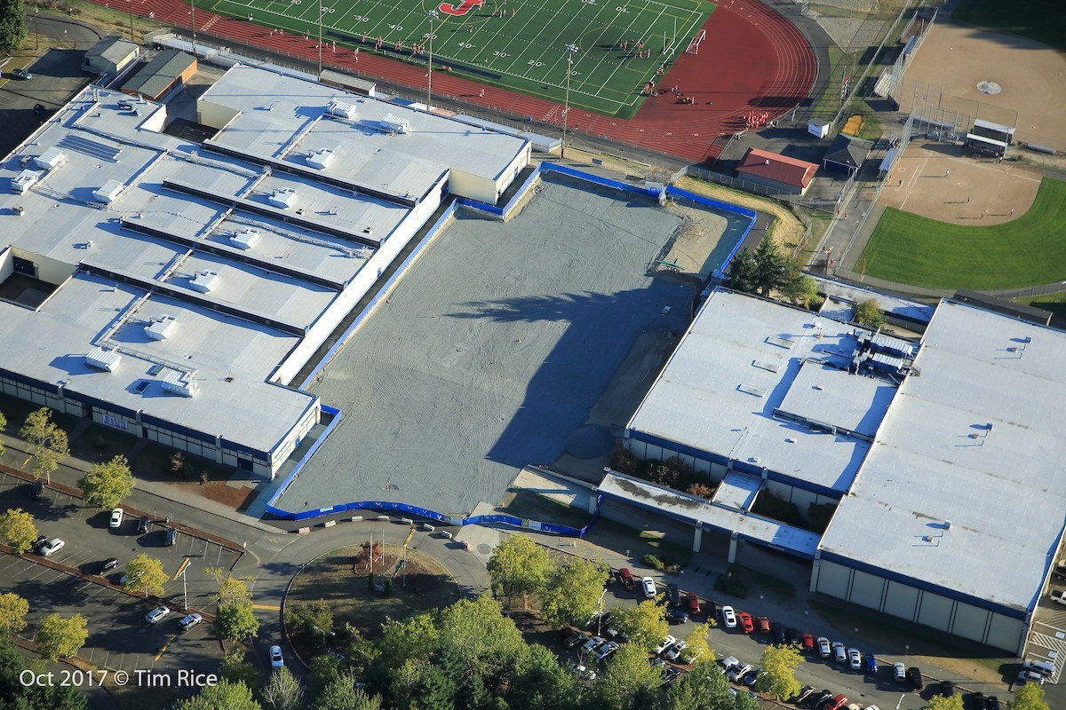 Aerial view of the status of the project to rebuild JHS