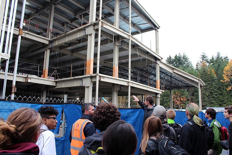 Students looking at building under construction