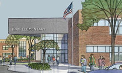Drawing of new Peter Kirk Elementary School building