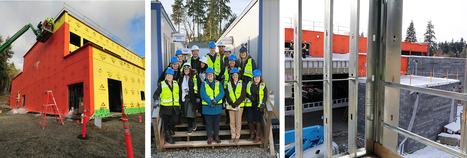 weatherproofing, staff tour, snow during construction