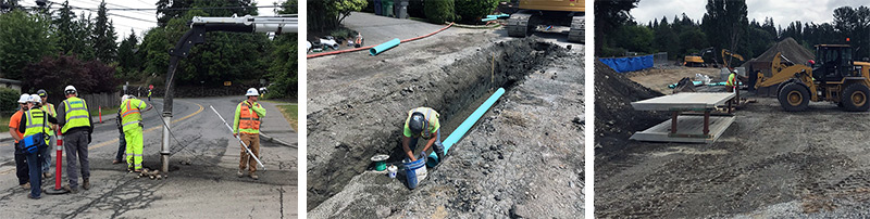 Sewer and water utility work at Kirk Elementary.