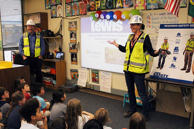 Construction workers teaching students about safety equipment.