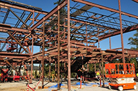 Steel framework for the new elementary school in north Redmond