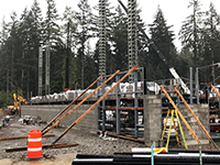 Structural steel installation at the new middle school in Redmond Ridge