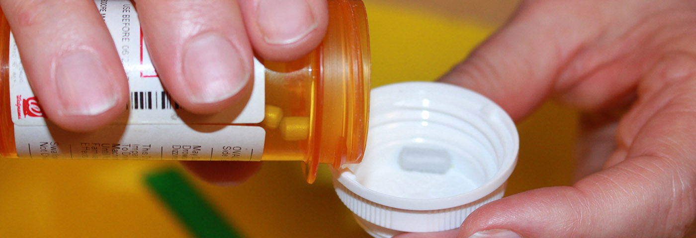 Closeup of prescription bottle.