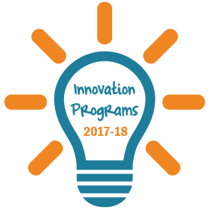 "Teal lightbulb icon that says ""Innovation Programs 2017-18"" and has golden lines coming out from it"