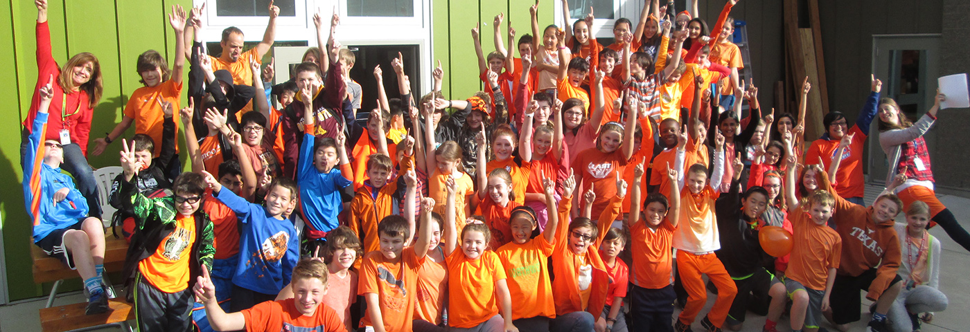 Students at EAS dressed in orange for Unity Day