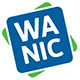 WANIC logo: blue square that says WANIC on top of green square