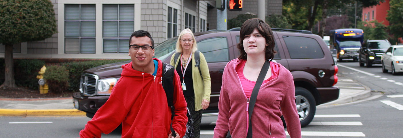 Transition Academy students crossing the street at a crosswalk.