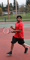 Redmond Middle School tennis player during a match